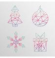 Abstract geometric christmas tree snowflake gift vector image