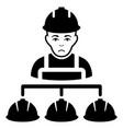 sad builder management black icon vector image