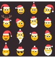 Christmas emotional face icons with Santa hat vector image
