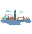 colored silhouettes of london and its sights vector image