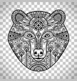 doodle bear face on transparent background vector image