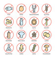 allergens free icons set vector image