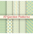 10 green garden seamless patterns abstract texture vector image vector image