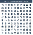 100 document icons vector image vector image