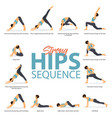 12 yoga poses in concept strong hips vector image