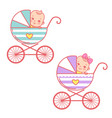 baboy and girl in carriage bastroller and vector image vector image