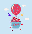 basket with hearts vector image