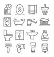 Bathroom line icons vector image