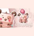 bear with air balloon - funny sticker vector image vector image