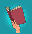 book in a female hand reading and literature vector image vector image