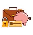 business piggy bank check briefcase security vector image vector image
