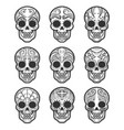 calavera or sugar skull tattoo set vector image vector image