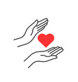 charity or donation with linear woman hands vector image