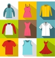 Clothing icons set flat style vector image vector image