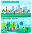 connecting people with nature set posters vector image