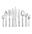 cooking hand-drawn set kitchen tools - spoon vector image