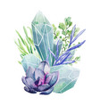 crystal gems with succulents full color art vector image vector image