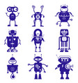 Cute robots in flat style