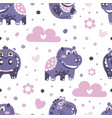 cute seamless pattern with baby hippo vector image vector image