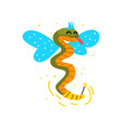 cute winged snake with a magic wand fantasy fairy vector image vector image