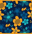 decorative 60s style flowers seamless pattern