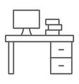 desk thin line icon furniture and office table vector image vector image
