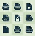 document icons set with raw favorite psd and vector image vector image
