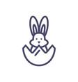 eggshell with cute rabbit icon line style icon vector image vector image