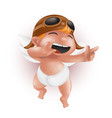 funny little bacupid in diaper helmet and vector image vector image