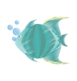 hand drawing green fish marine species bubbles vector image vector image