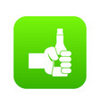 hand holding bottle of beer icon digital green vector image