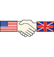handshake with usa and great britain flag vector image vector image