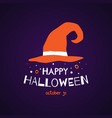 happy halloween greeting card with witch hat vector image