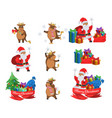 happy santa claus and cute ox chinese new year vector image vector image