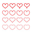 hearts icons set st valentines day february can vector image vector image