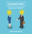 Isometric businessman and businesswoman with light vector image vector image