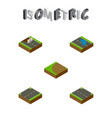 isometric road set of rightward repairs turning vector image vector image