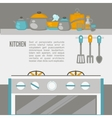 Kitchen Interior pans on the stove cooking vector image vector image