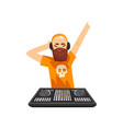 male hipster dj in headphones playing track and vector image vector image