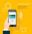 Mobile Payments Man holding phone of moder vector image vector image