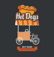 mobile tray selling hot dogs in retro style vector image