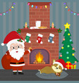 new year and christmas card santa claus holds a vector image vector image