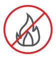 no fire line icon prohibited and warning no vector image vector image