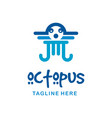 octopus logo design with fish vector image vector image
