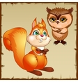 Orange squirrel and brown owl cartoon characters vector image vector image