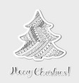 patterned grayscale christmas tree made as sticker vector image vector image