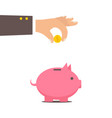 piggy bank and hand with coin color vector image