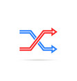 red and blue repeat icon like shuffle vector image vector image