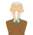 senior man sneezing into handkerchief vector image