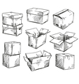 set of doodle cardboard boxes vector image